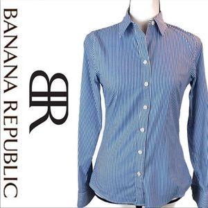 Banana Republic Blue Stripe No iron button up top